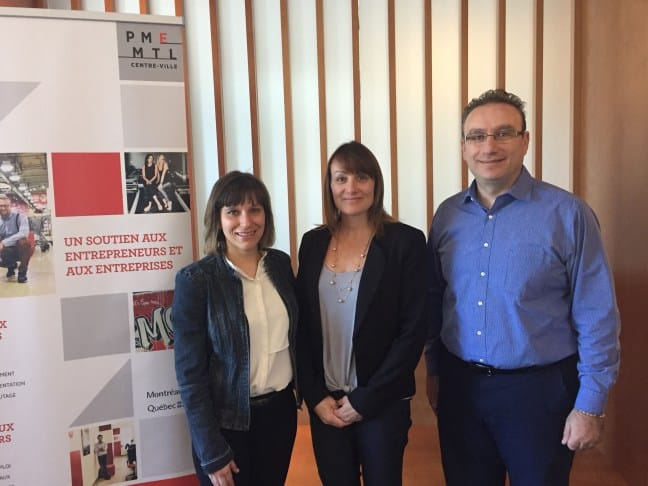 Élo Co-founders Catherine Légaré and Lyne Maurier with Gilbert Samaha, Consulting Services and Finance Director, PME Montréal
